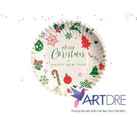 Đĩa giấy tròn 16cm Giáng sinh