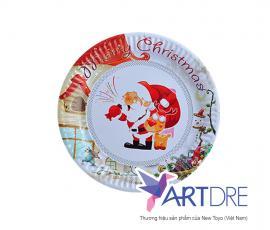 Đĩa giấy tròn 23cm Giáng sinh