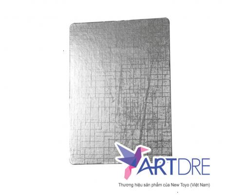 Khay chữ nhật Mpet bạc cán vân - 17x23.8cm