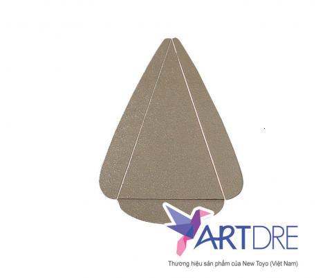 Khay tam giác tay cầm Mpet Vàng cán vân - 10x13.5x13.5