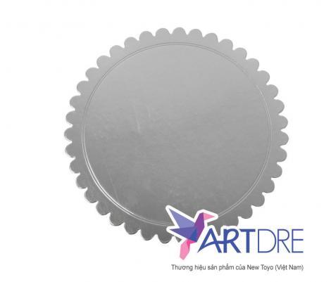 Khay tròn viền hoa Mpet bạc - 25.5cm