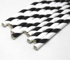 Ống hút giấy sọc đen trắng