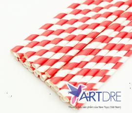 Ống hút giấy sọc trắng đỏ