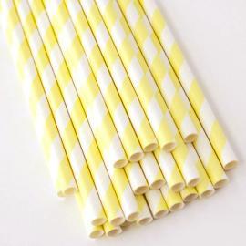Ống hút giấy sọc vàng trắng