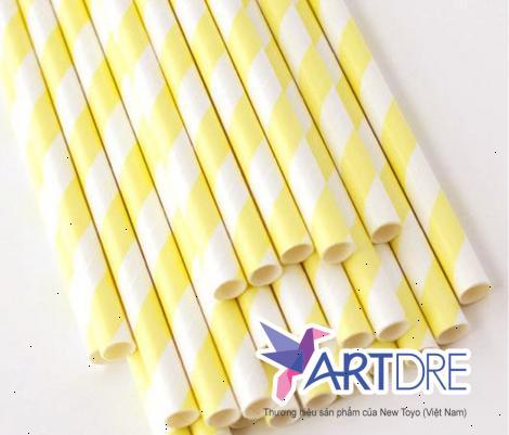 Ống hút giấy sọc trắng vàng