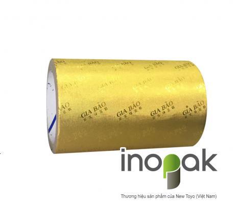 Giấy nhôm vàng cán vân Logo Gia Bảo